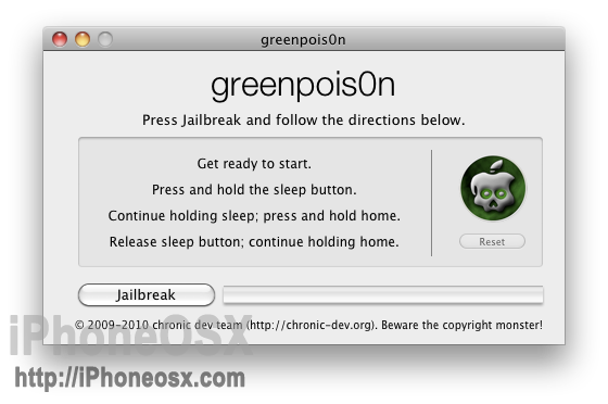 Greenpois0n RC iOS 4.2.1