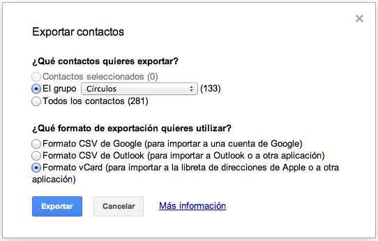 Contactos Google a iCloud