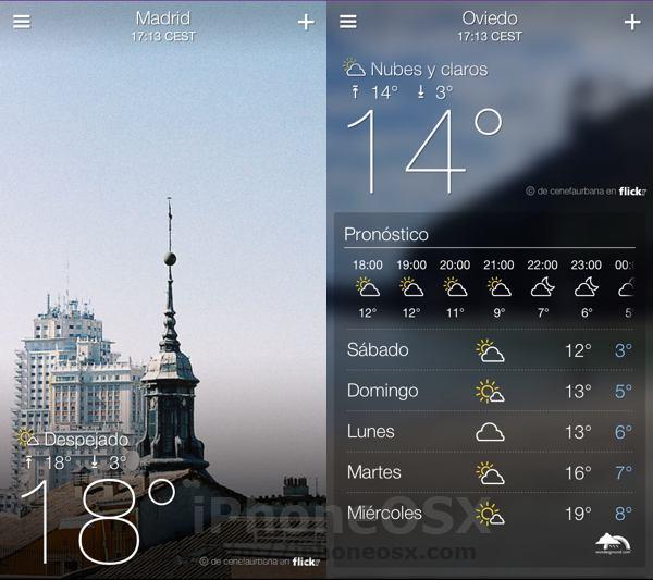 Yahoo Weather, una aplicación elegante y funcional