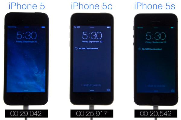 Comparativa de velocidad a la hora de arrancar el iPhone 5, iPhone 5C y iPhone 5S