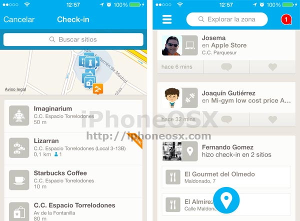 Foursquare en iOS 7