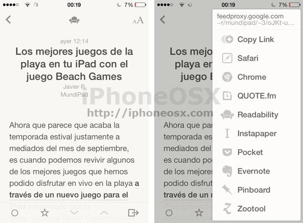 Reeder 2 para iOS 7