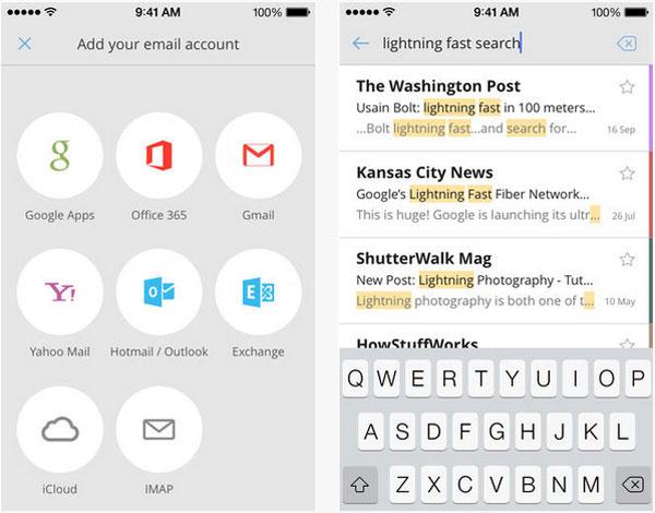 Aplicación CloudMagic para iPhone