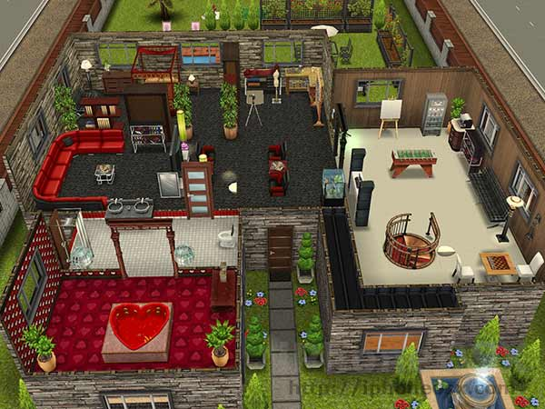Dise os casas sims freeplay 1 piso casa dise o for Sims 2 mansiones y jardines