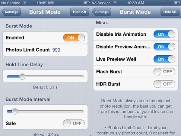 Tweak Burst Mode para iPhone