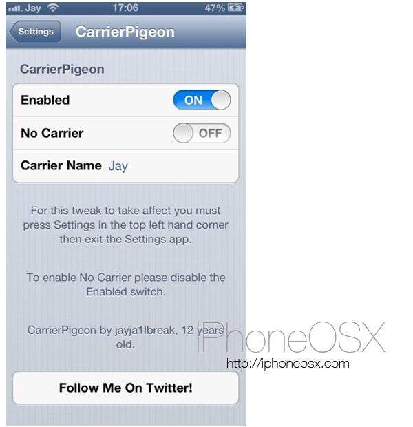 Tweak CarrierPigeon para iPhone
