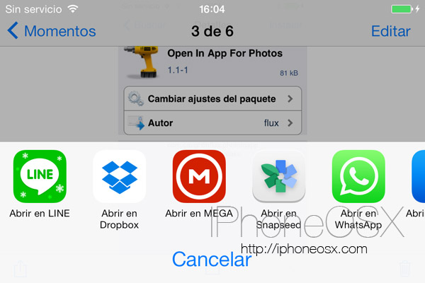 Tweak Open In App For Photos para iPhone