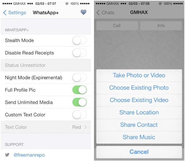 El tweak WhatsApp+ mejora las funciones de la app de iPhone