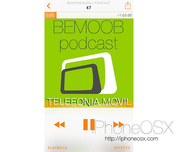 Reproduciendo un podcast en Overcast