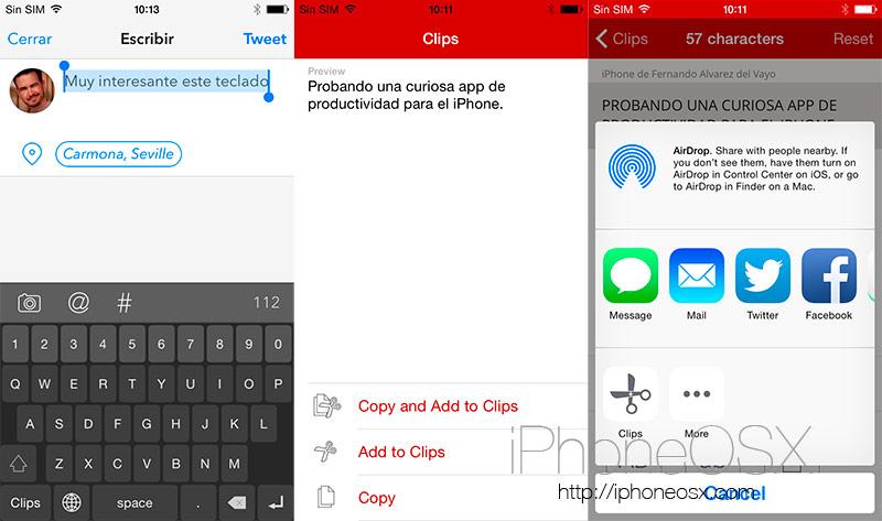 Clips es un widget y teclado de productividad para iOS 8