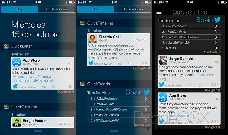 Quickgets Bird: Widgets de Twitter en tu iPhone con iOS 8