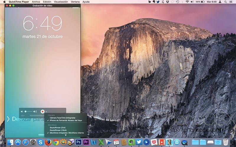 Cómo grabar la pantalla del iPhone desde Mac OS 10 Yosemite